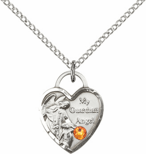 Guardian Angel Heart Shape November Topaz Birthstone Necklace