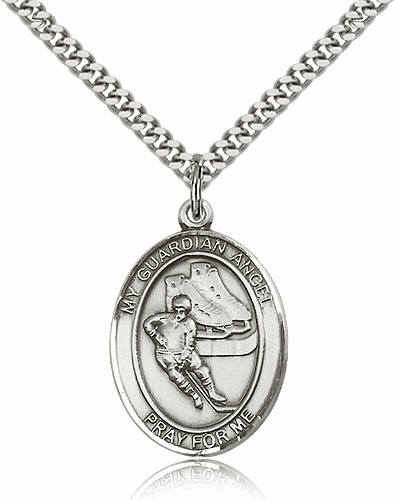 Guardian Angel Hockey Sterling Silver Sports Necklace