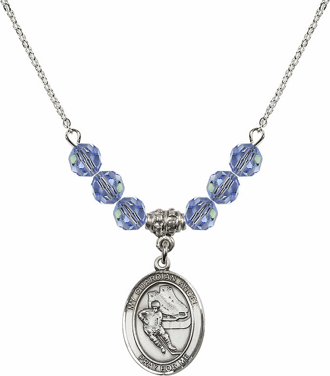 Guardian Angel Ice Hockey Sterling Sapphire Swarovski Crystal Beaded Necklace by Bliss Mfg