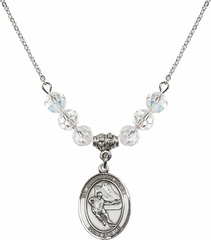 Guardian Angel Ice Hockey Sterling Silver April Swarovski Crystal Beaded Necklace by Bliss Mfg
