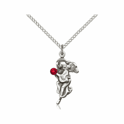 Guardian Angel July Ruby Birthstone Pendant Necklace by Bliss