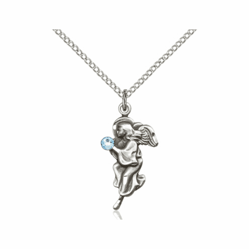 Guardian Angel March Aqua Birthstone Pendant Necklace by Bliss