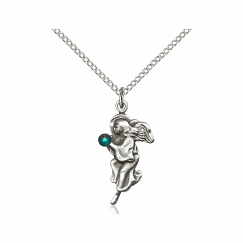 Guardian Angel May Emerald Birthstone Pendant Necklace by Bliss