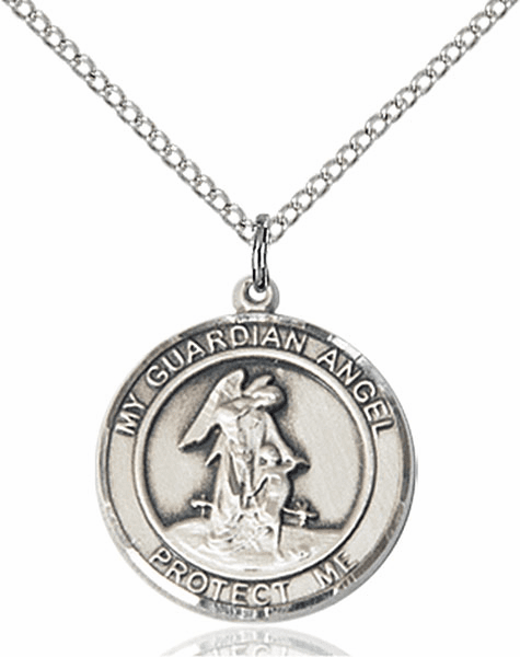 Guardian Angel Medium Patron Saint Sterling Silver Medal by Bliss