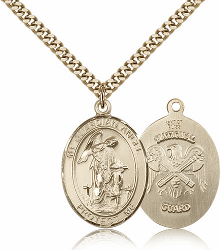 Guardian Angel National Guard Gold-Filled Oval Saint Pendant Medal by Bliss