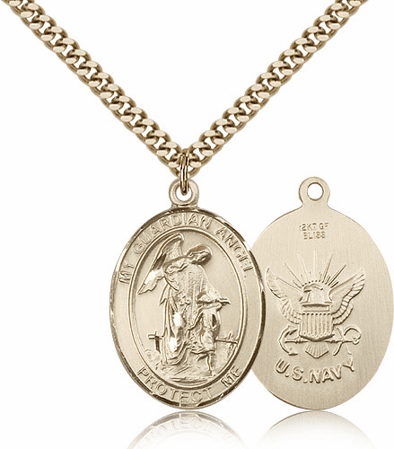 Guardian Angel Navy Gold-Filled Oval Saint Pendant Medal by Bliss