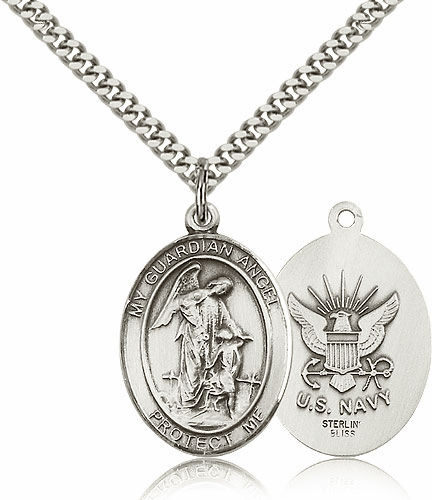 Guardian Angel Navy Sterling Oval Saint Pendant Medal by Bliss