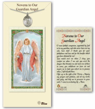 Guardian Angel Novena Pendant and Holy Prayer Card Gift Set by Bliss