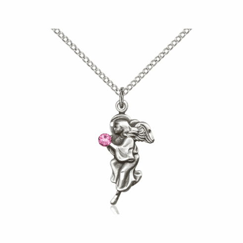 Guardian Angel October Rose Birthstone Pendant Necklace by Bliss