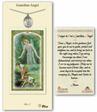 Guardian Angel Pendant and Holy Prayer Card Gift Set by Bliss