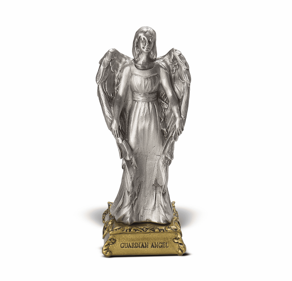 Guardian Angel Pewter Statue on Gold Tone Base by Hirten