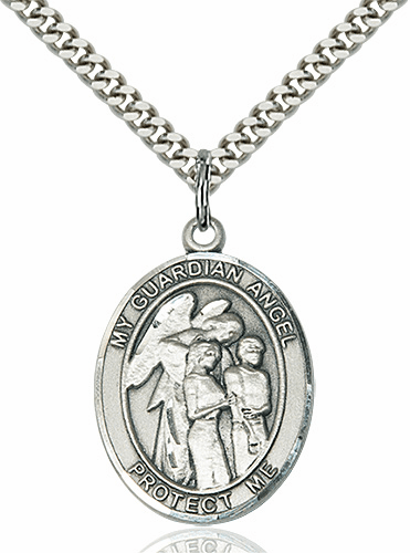 Guardian Angel Protector of the Children Silver-filled Medal Necklace by Bliss