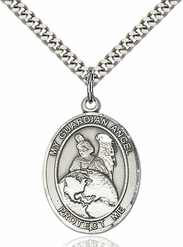 Guardian Angel Protector Patron Saint Medal Necklace by Bliss