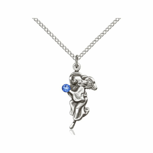 Guardian Angel September Sapphire Birthstone Pendant Necklace by Bliss