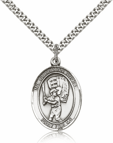 Guardian Angel Silver-filled Saint Medal Necklace by Bliss
