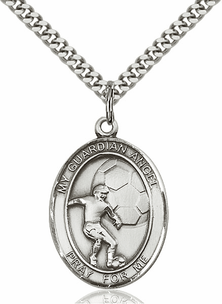 Guardian Angel Soccer Silver-Filled Patron Saint Medal by Bliss Manufacturing