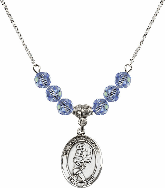 Guardian Angel Softball Sterling Sapphire Swarovski Crystal Beaded Necklace by Bliss Mfg