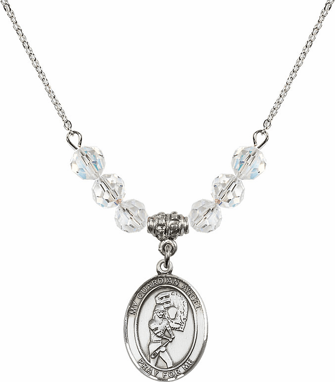 Guardian Angel Softball Sterling Silver April Swarovski Crystal Beaded Necklace by Bliss Mfg