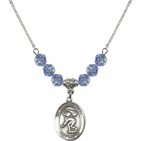 Guardian Angel Swimming Sterling Sapphire Swarovski Crystal Beaded Necklace by Bliss Mfg