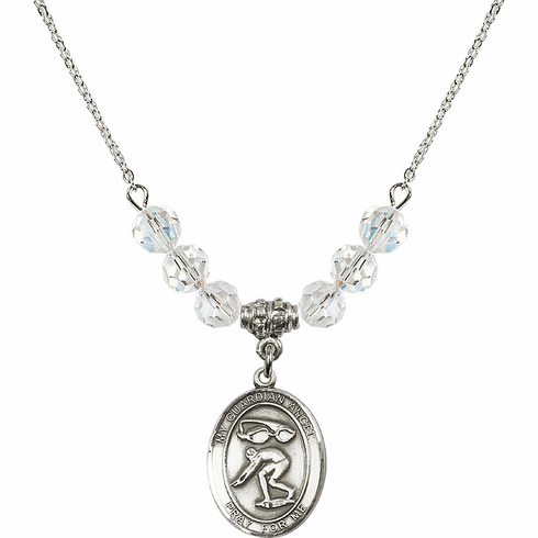 Guardian Angel Swimming April Swarovski Crystal Beaded Necklace by Bliss Mfg