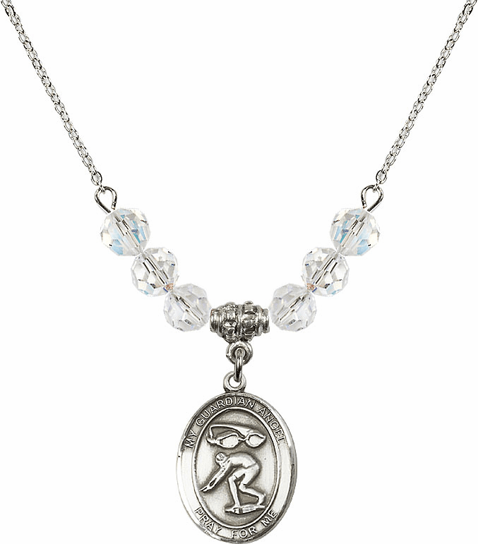 Guardian Angel Swimming Sterling Silver April Swarovski Crystal Beaded Necklace by Bliss Mfg