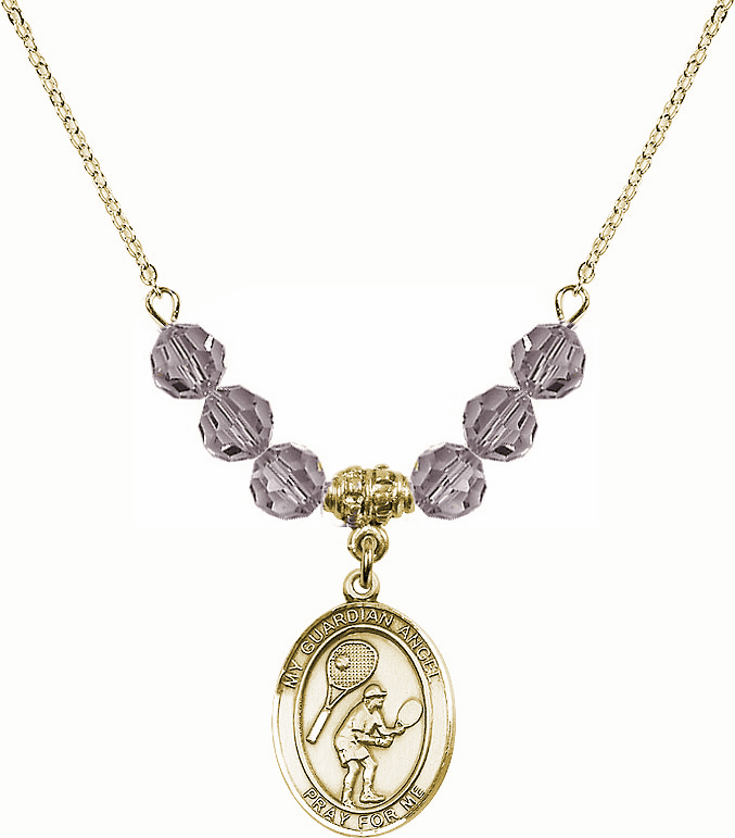 Guardian Angel Tennis 14kt Gold-filled Swarovski Crystal Beaded Patron Saint Necklace by Bliss Mfg