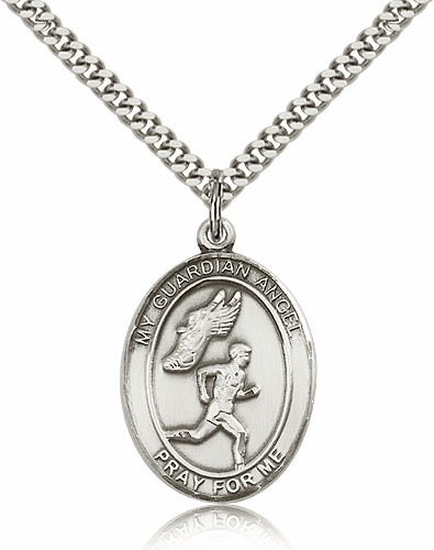 Guardian Angel Track & Field Sterling Silver Sports Necklace