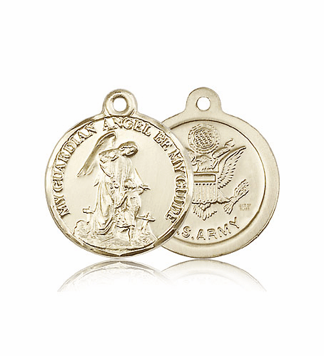 Guardian Angel US Army 14kt Gold Medal by Bliss