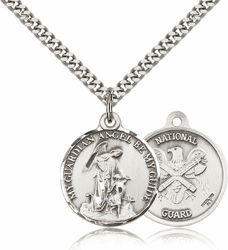 Guardian Angel US National Guard Sterling Silver Pendant by Bliss