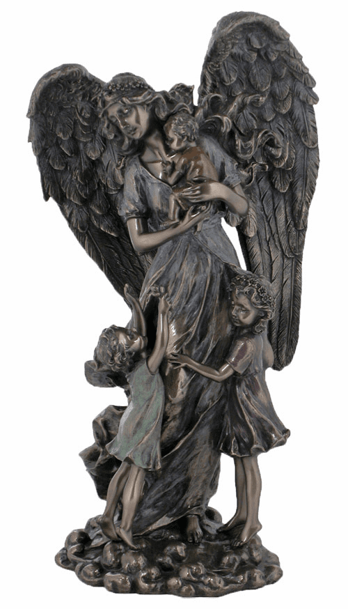 "Guardian Angel w/Children 11"" Cold Cast Bronze Statue by Veronese"