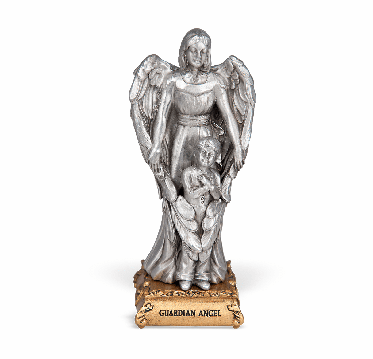 Guardian Angel with Boy Pewter Statue on Gold Tone Base by Hirten