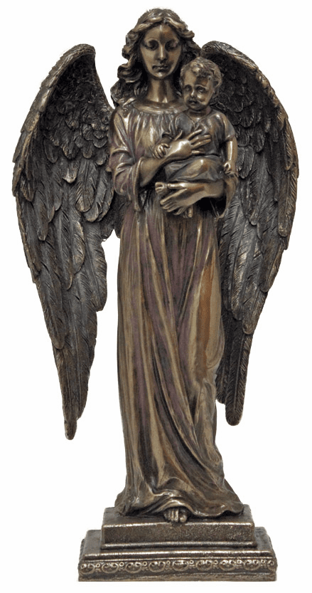 Guardian angel with Child Cold Cast Bronze Statue by Veronese Collection