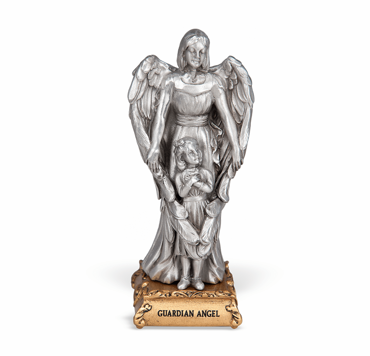 Guardian Angel with Girl Pewter Statue on Gold Tone Base by Hirten