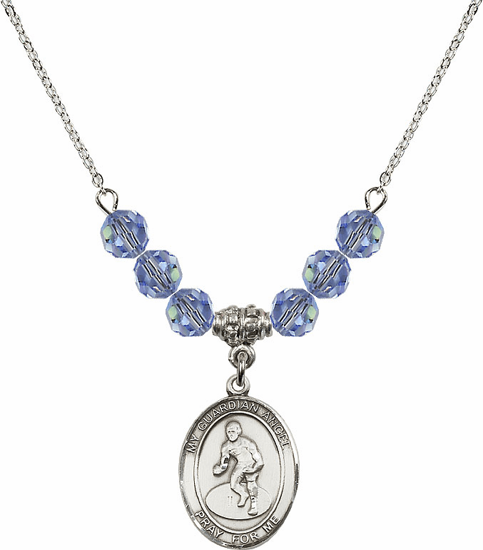 Guardian Angel Wrestling Sterling Sapphire Swarovski Crystal Beaded Necklace by Bliss Mfg