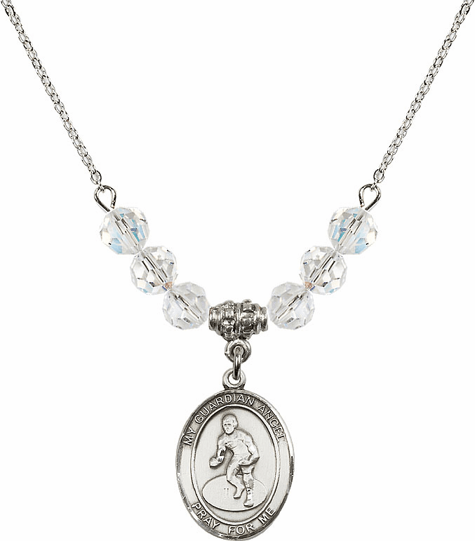 Guardian Angel Wrestling Sterling Silver April Swarovski Crystal Beaded Necklace by Bliss Mfg