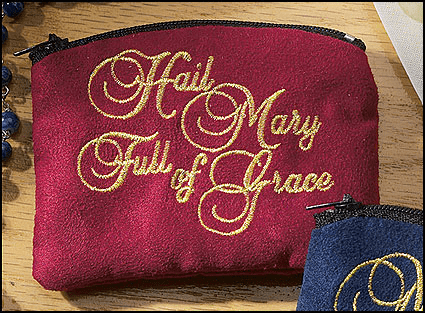 Hail Mary Full of Grace Cloth Holy Rosary Cases  - 3pcs
