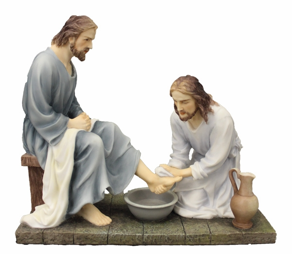 Hand-Painted Christ Washing Feet Religious Figurine by Veronese Collection