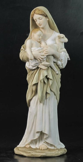 Hand-Painted L'innocence Madonna and Child w/Lamb Figurine by Veronese Collection
