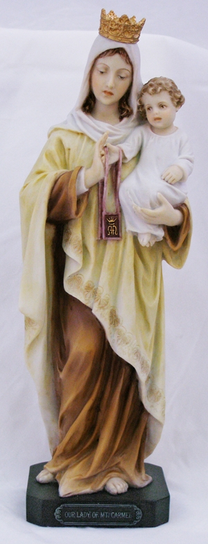 Hand-Painted Our Lady of Mount Carmel Religious Figurine by Veronese Collection