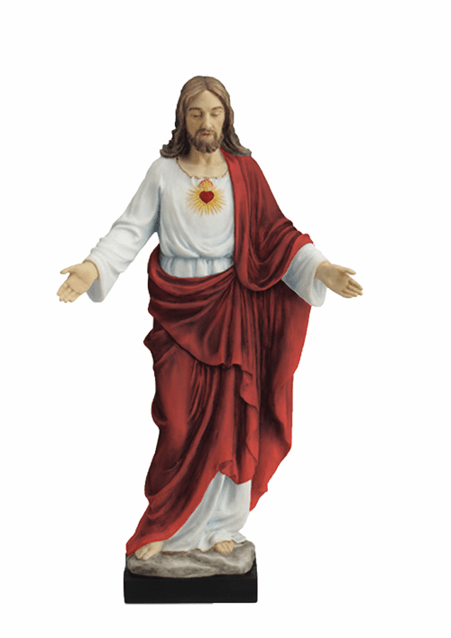 Hand-painted Sacred Heart of Jesus with Open Arms Statue by Veronese
