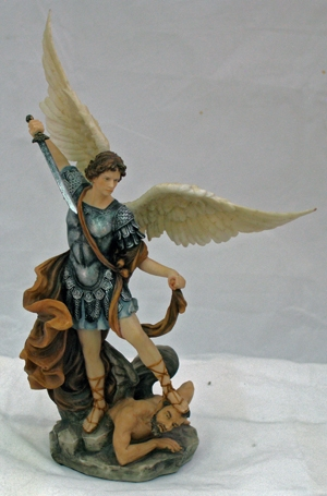 Hand-Painted St Michael w/Satan Under Foot Figurine by Veronese Collection