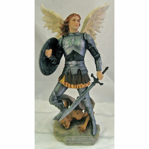 Hand-Painted St Michael w/Spear and Shield Figurine by Veronese Collection