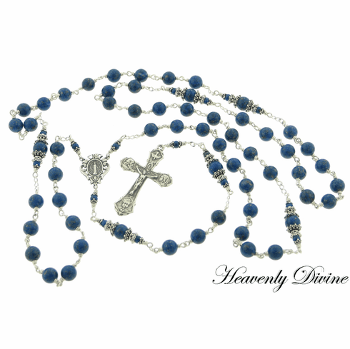 Handcrafted Holy Family Blue Lapis Lazuli Rosary by Heavenly Divine