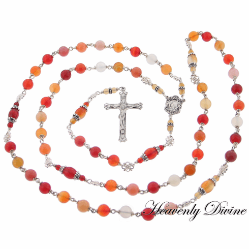 Handmade Agate & Carnelian Sterling Silver Wire Wrapped Rosary