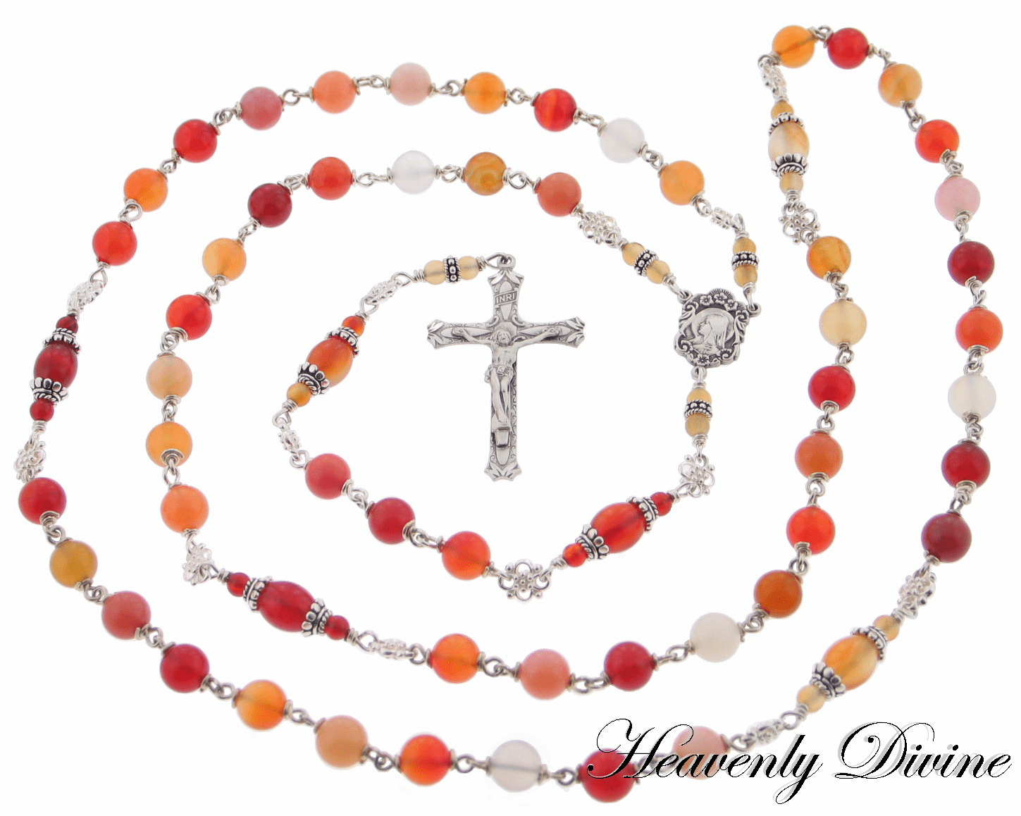 <b> Handmade Agate & Carnelian Sterling Silver Wire Wrapped Rosary </b>