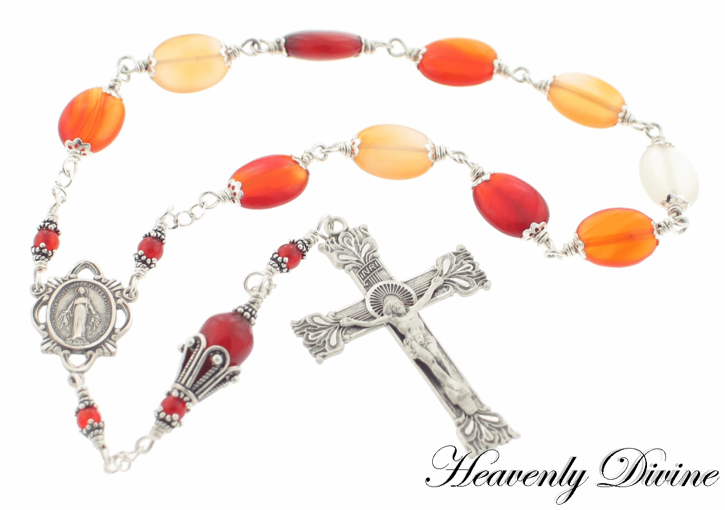 Handmade Agate & Sterling Silver Pocket Rosary by Heavenly Divine
