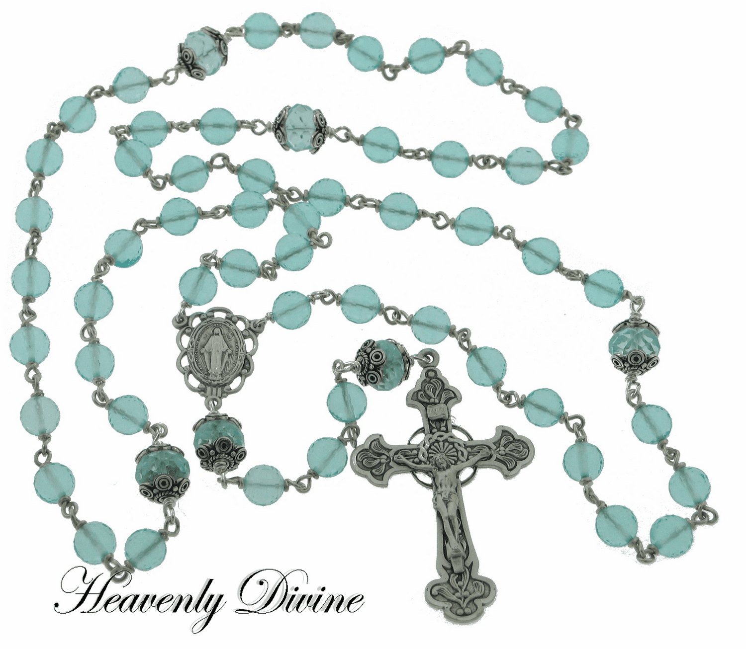 Handmade Aqua Blue Faceted Quartz Sterling Silver Wire Wrapped Rosary by Heavenly Divine