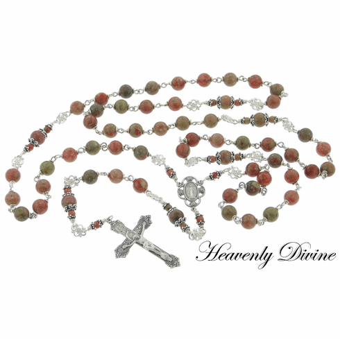 Handmade Autumn Jasper Sterling Silver Wire Wrapped Rosary by Heavenly Divine