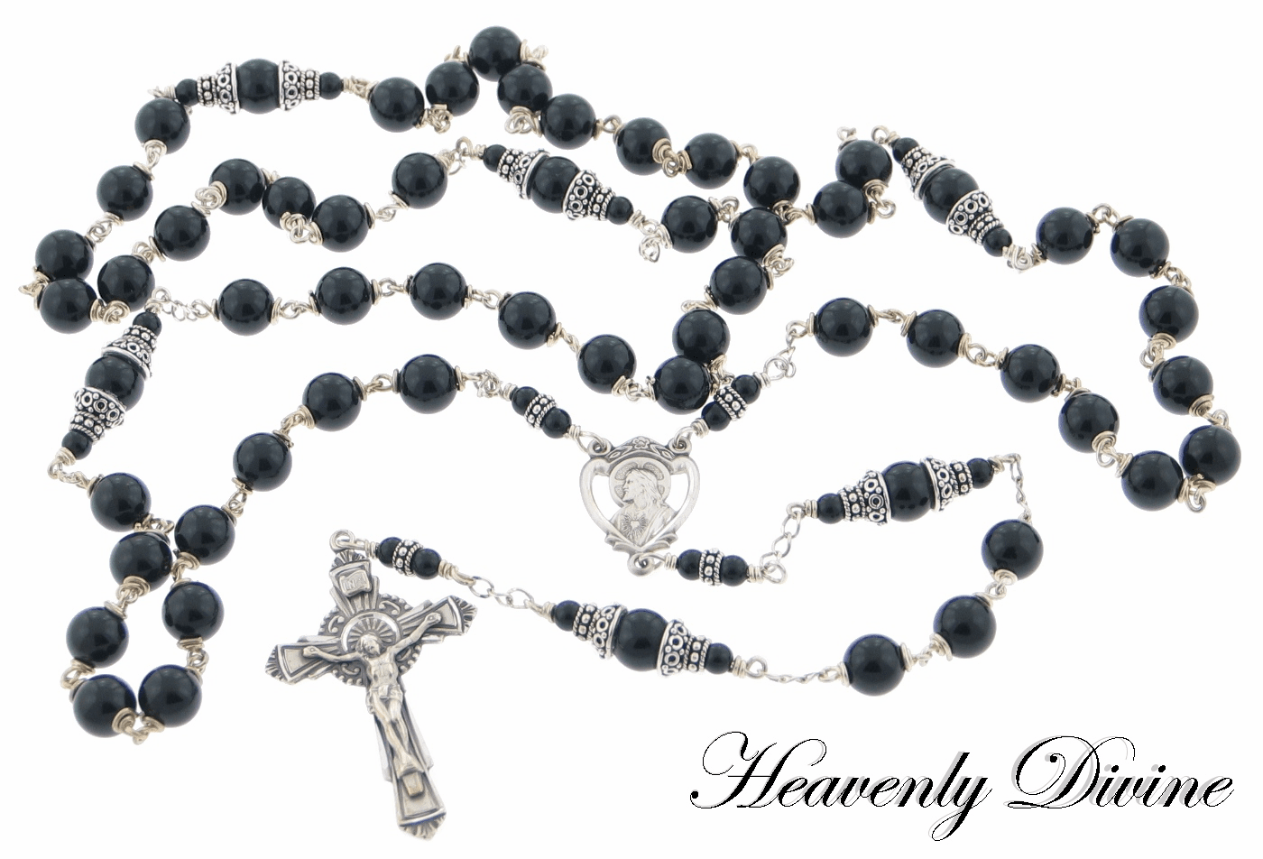 Handmade Black Onyx Sterling Silver Wire Wrapped Rosary by Heavenly Divine