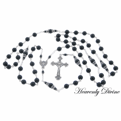 Handmade Black Onyx Wire Wrapped Rosary by Heavenly Divine